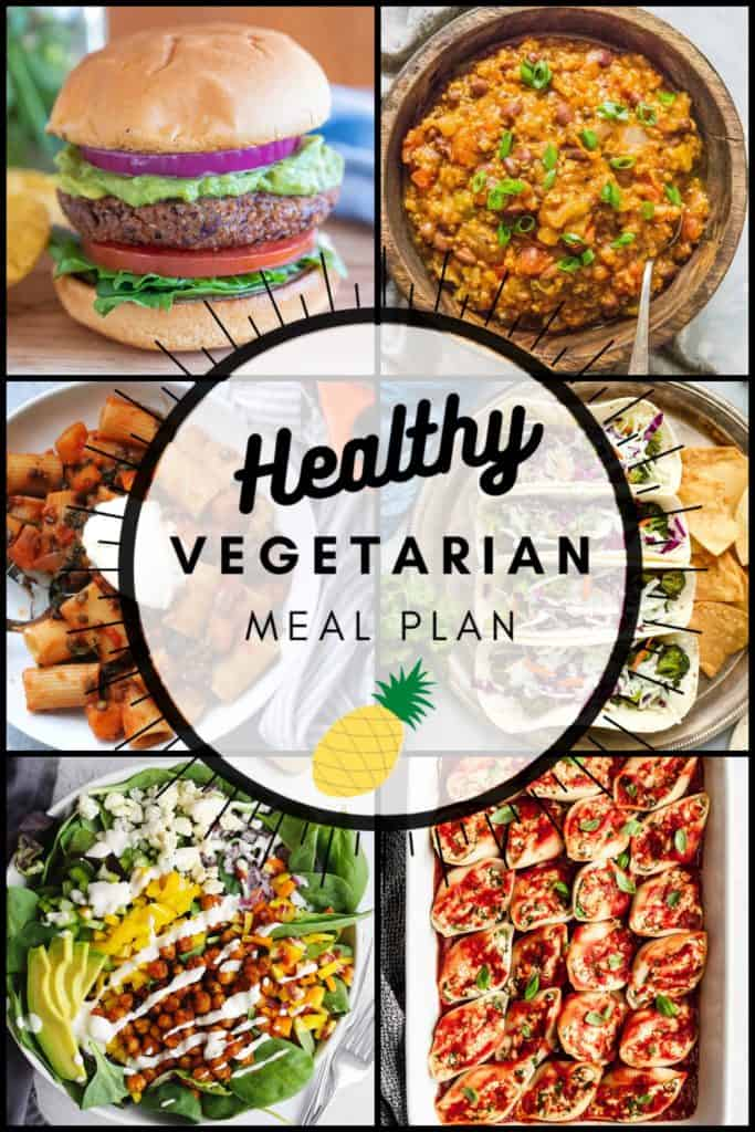 Healthy vegetarian meal plan week 39 collage