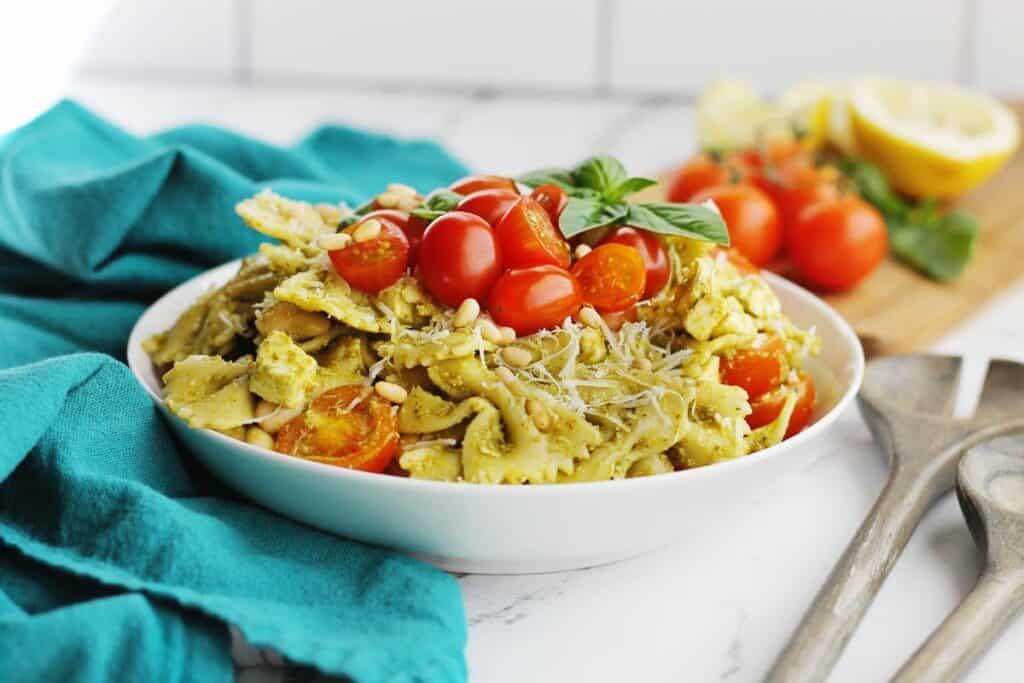 Caprese pasta salad with fresh tomatoes