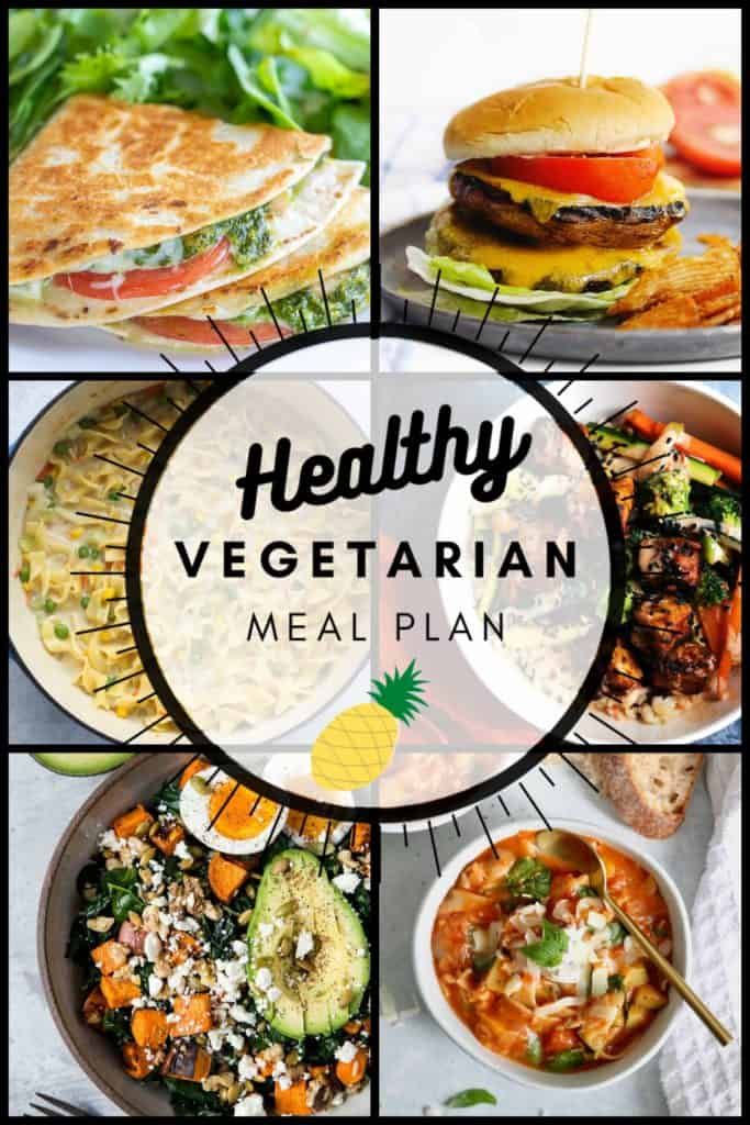 Healthy vegetarian meal plan week 36 pinterest collage graphic