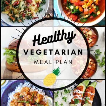 Healthy vegetarian meal plan week 38 collage