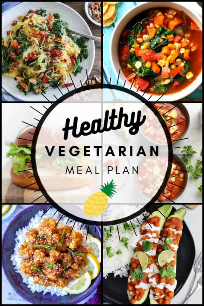Healthy vegetarian meal plan week 38 collage