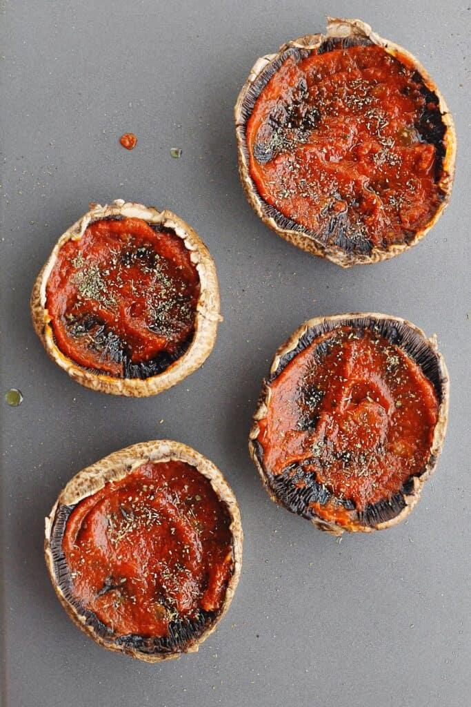 Portobello pizza caps with sauce