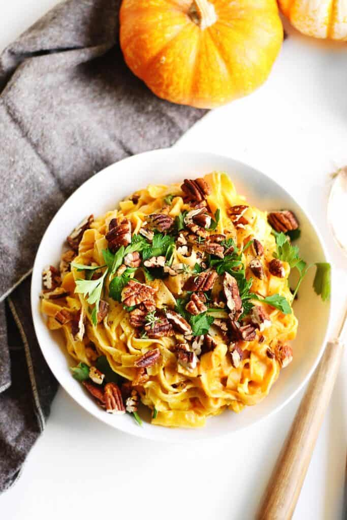 pumpkin fettuccine alfredo with pecans and parsley