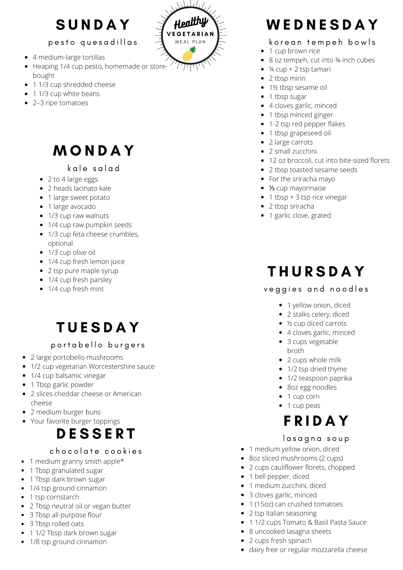 Healthy vegetarian meal plan week 36 shopping list