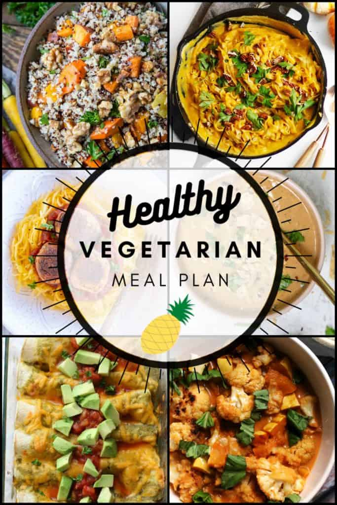 Healthy vegetarian meal plan week 42 pinterest graphic