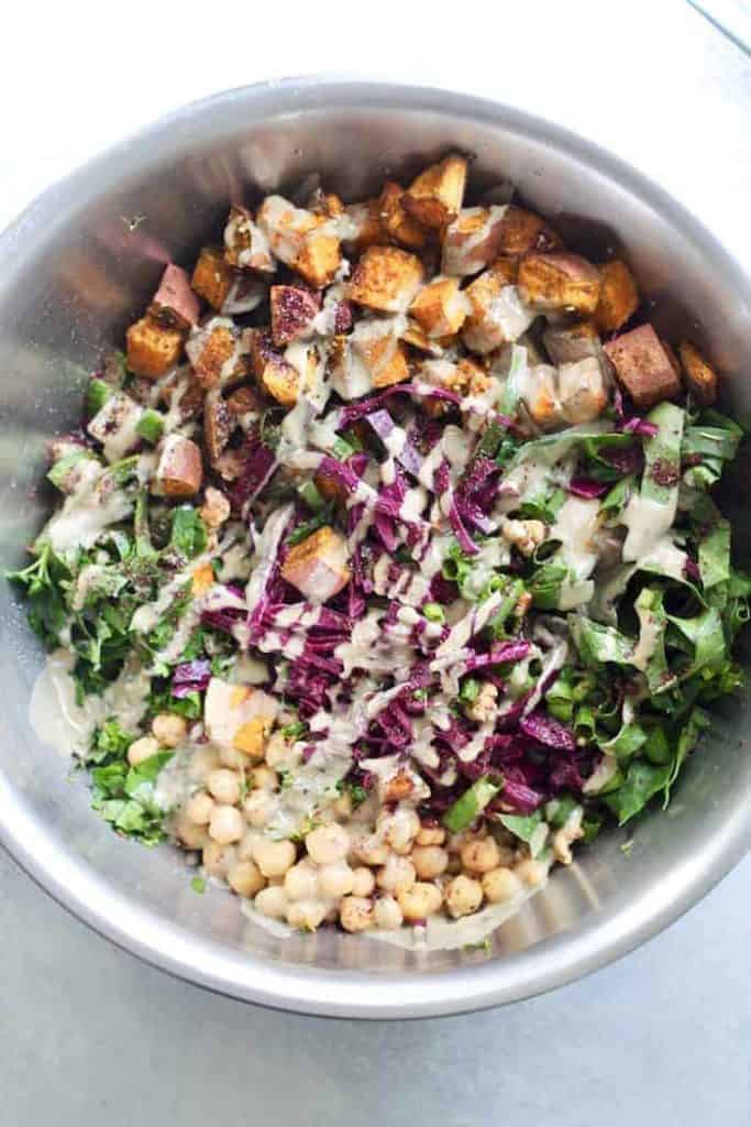 Israeli power salad with dressing