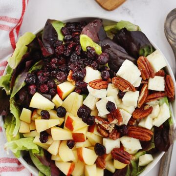 Warm halloumi salad with apples and pecans