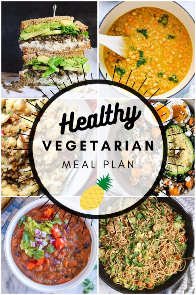 Healthy vegetarian meal plan week 41 collage graphic