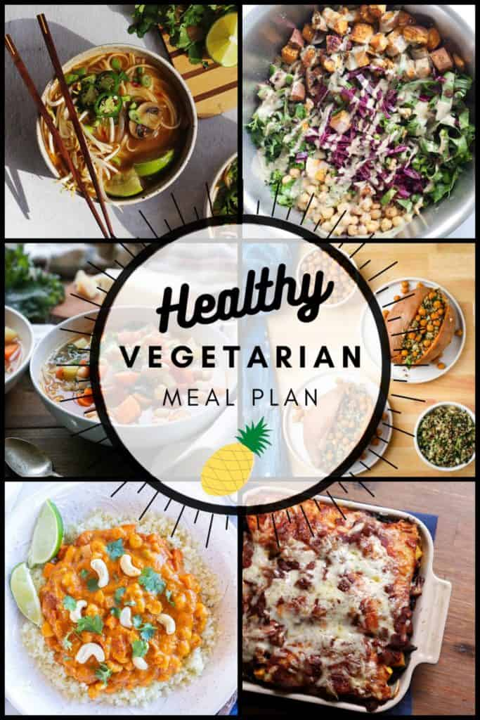 Healthy vegetarian meal plan week 44 collage