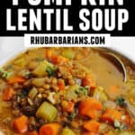 Pumpkin lentil soup pinterest pin