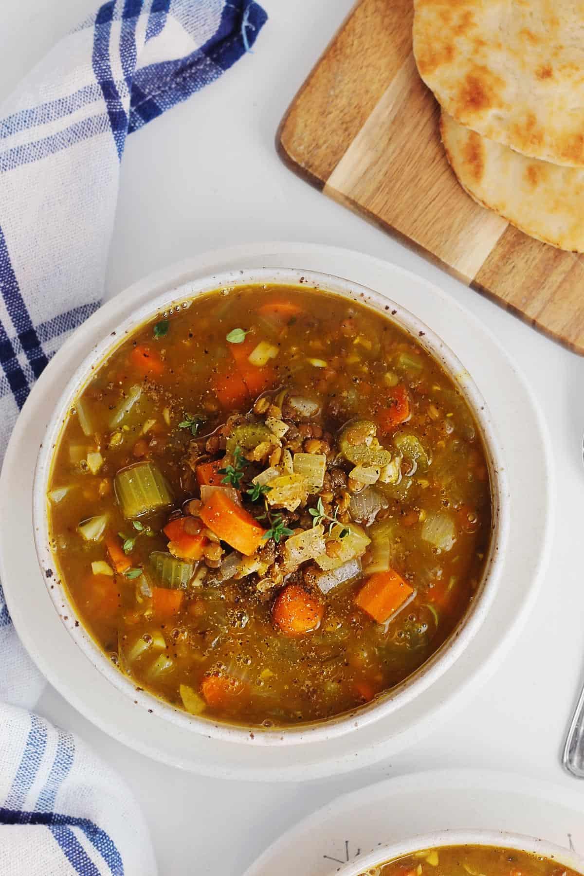 Pumpkin lentil soup with veggies