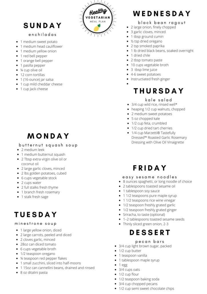 Healthy vegetarian meal plan week 43 shipping list