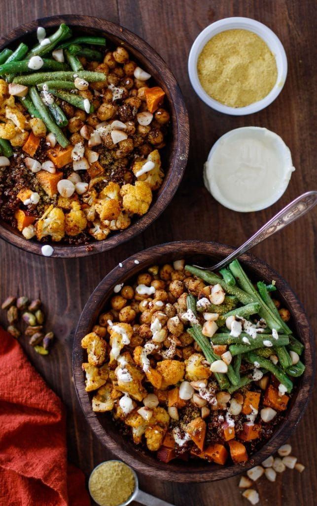Roasted vegetable buddha bowls
