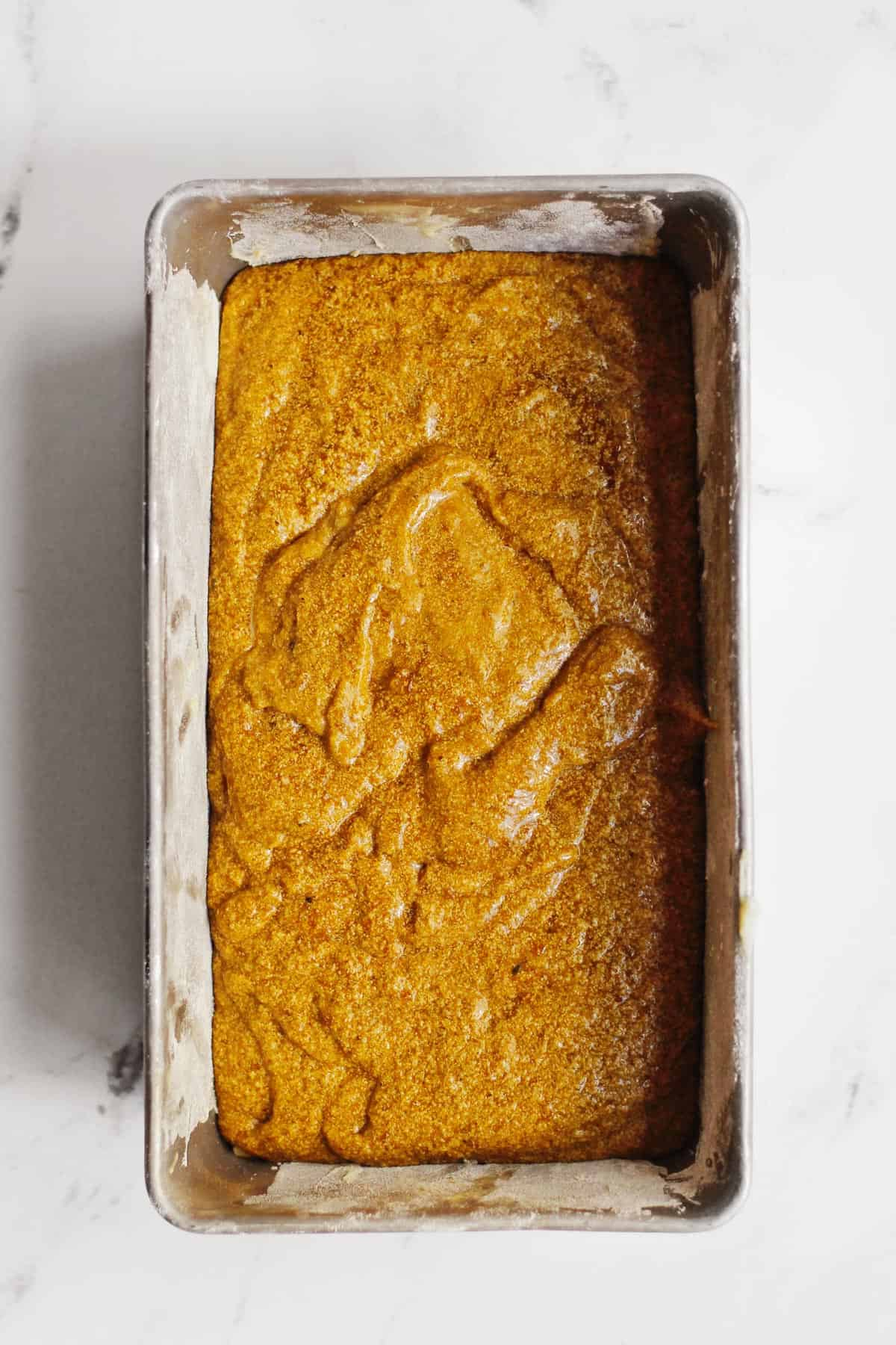 gingerbread dough in a loaf pan