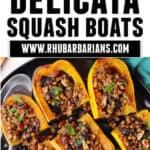 Lentil delicata squash boats pinterest pin with text