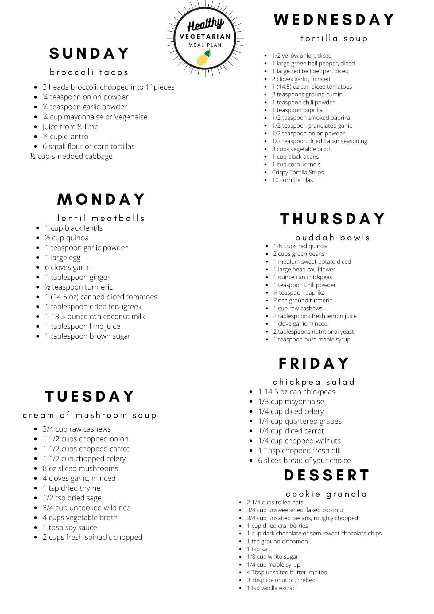 Healthy vegetarian meal plan week 47 shopping list
