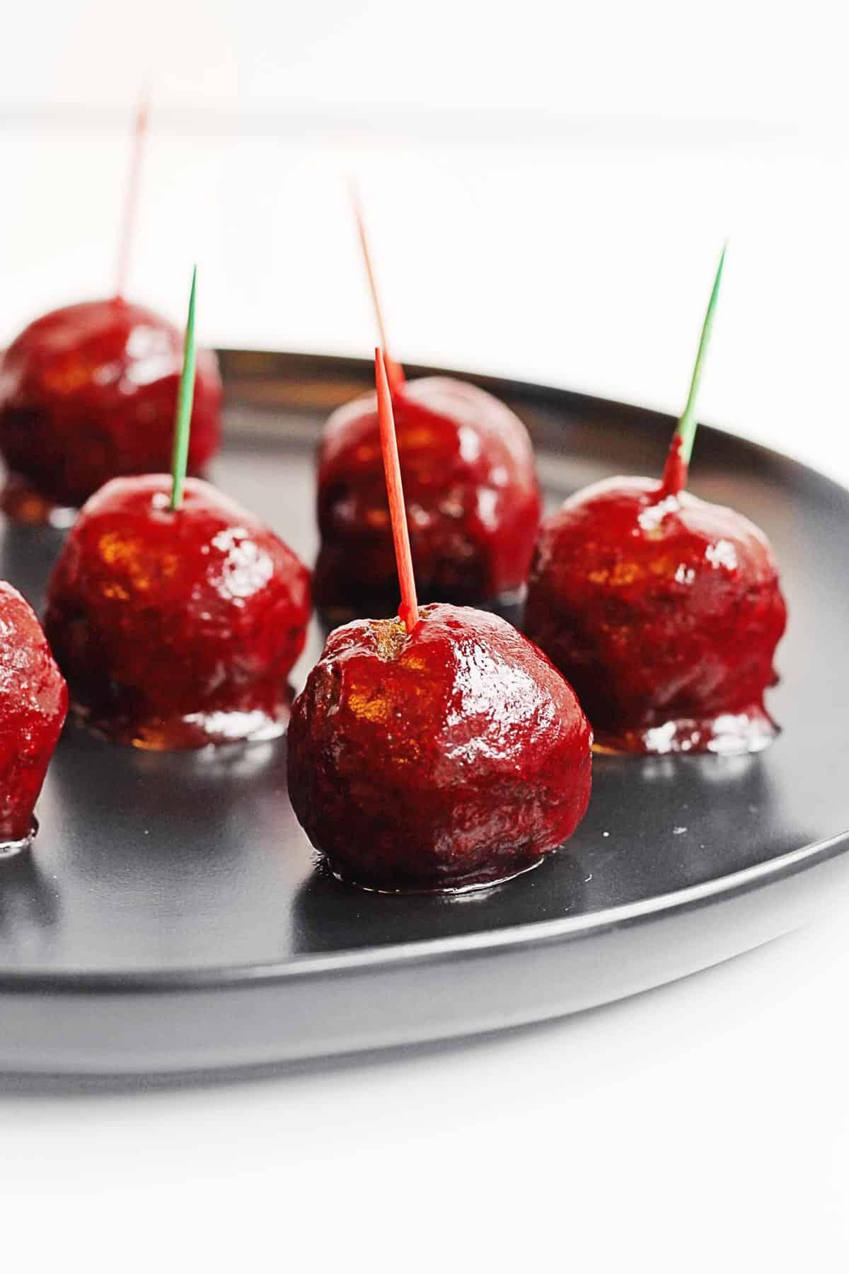 Vegan cocktail meatballs with cranberry sauce