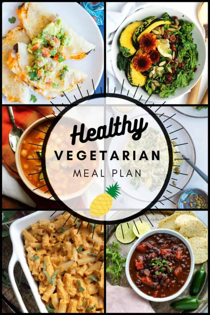 Healthy vegetarian meal plan collage graphic