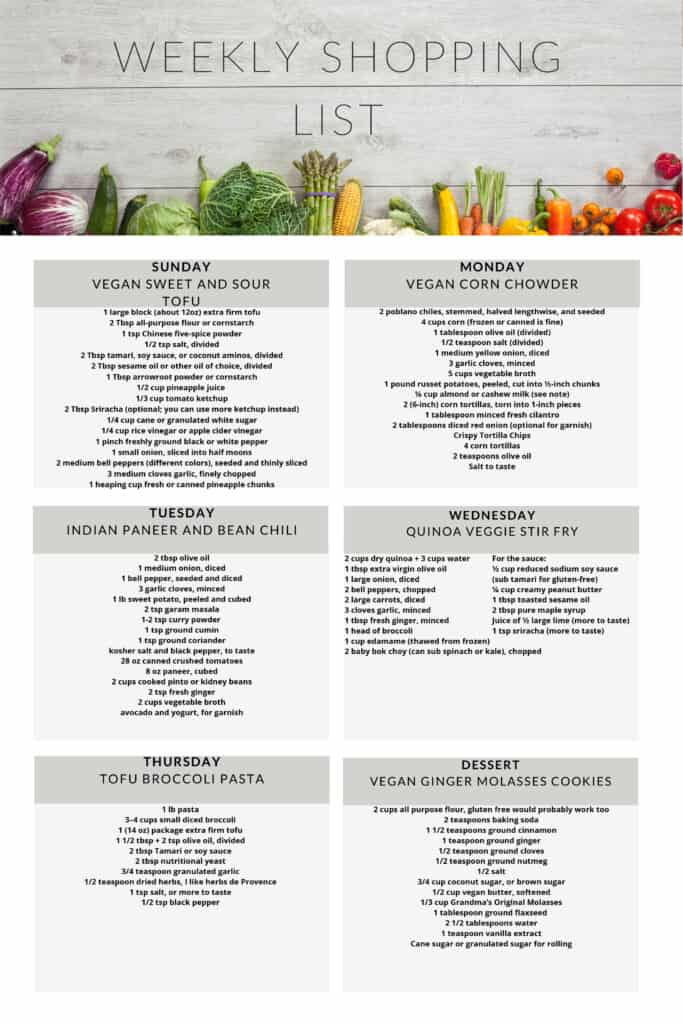 Healthy vegetarian meal plan week 51 shopping list