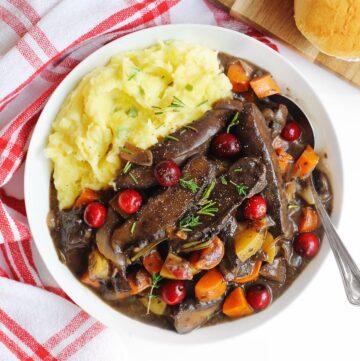 Cranberry portobello pot roast with mashed potatoes