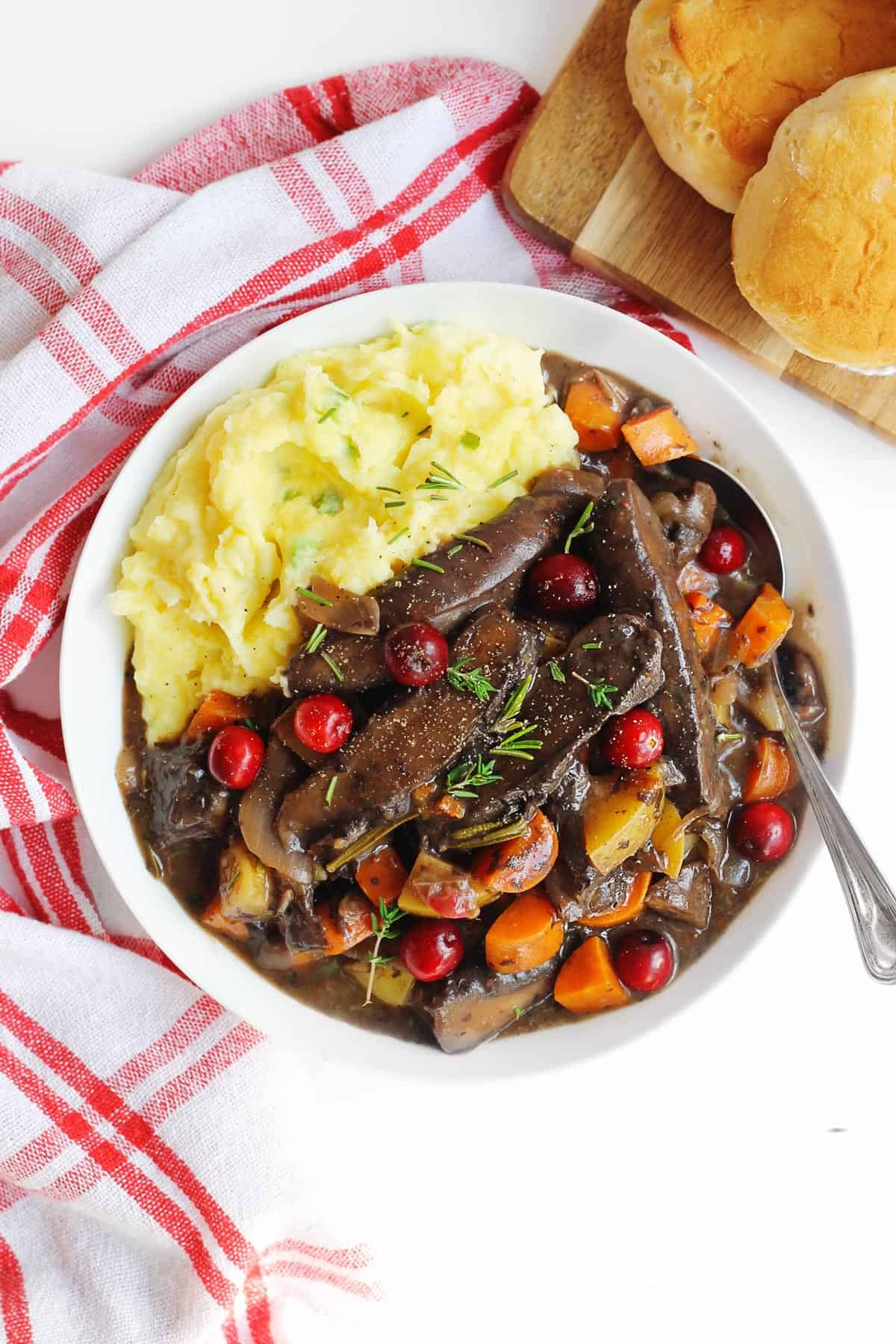 Cranberry portobello pot roast with mashed potatoes
