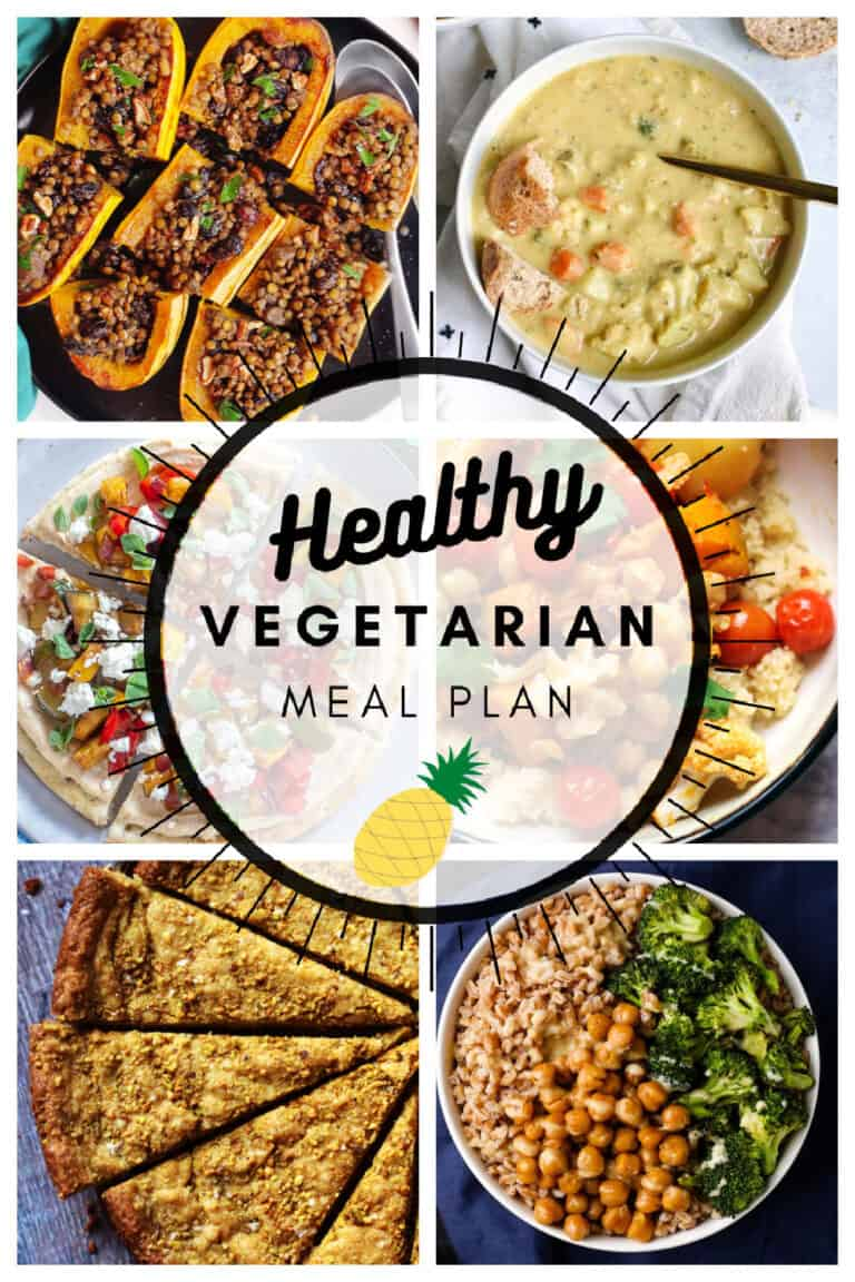 Healthy vegetarian meal plan week 49 collage