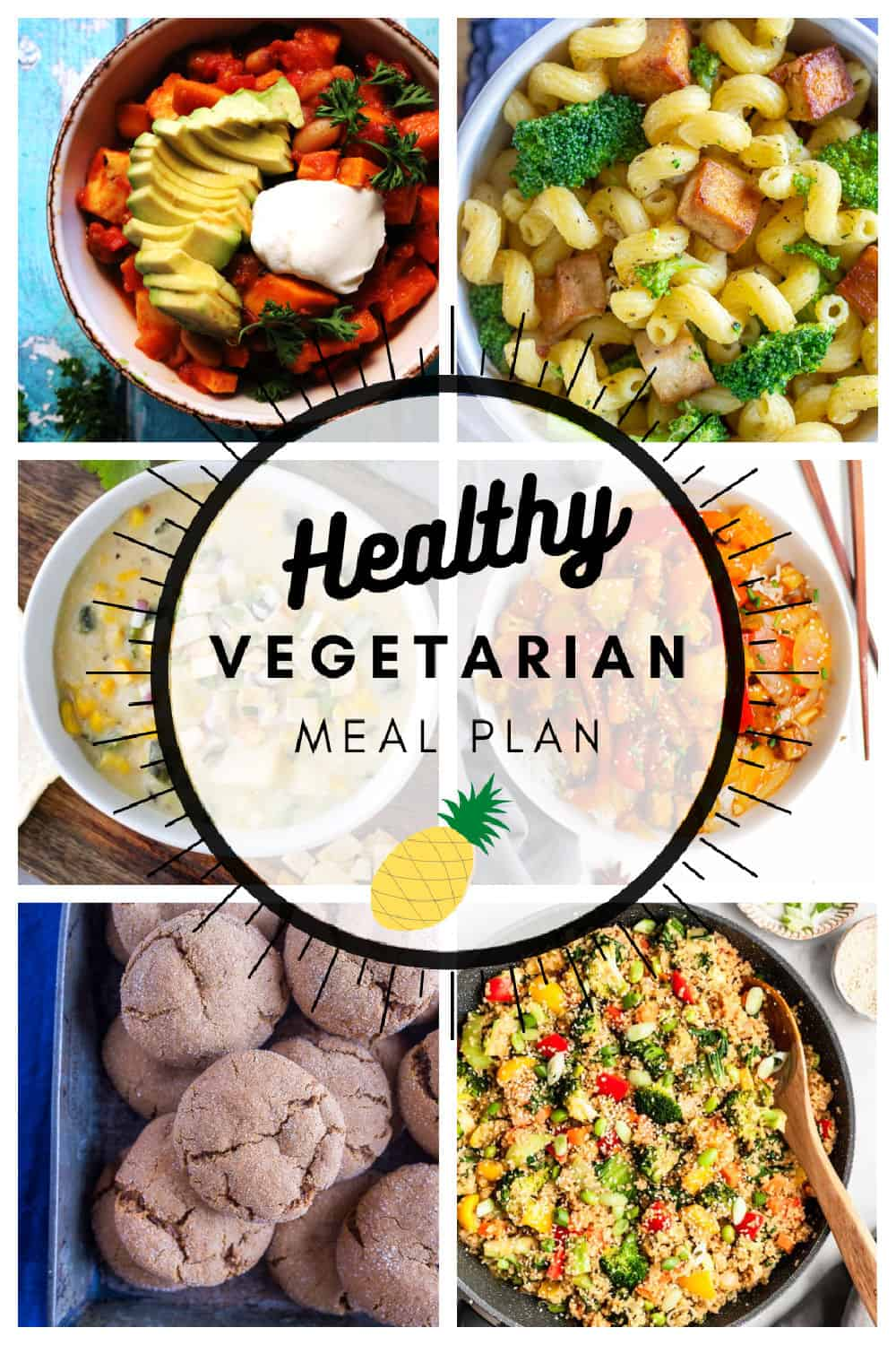 Healthy vegetarian meal plan week 51 collage