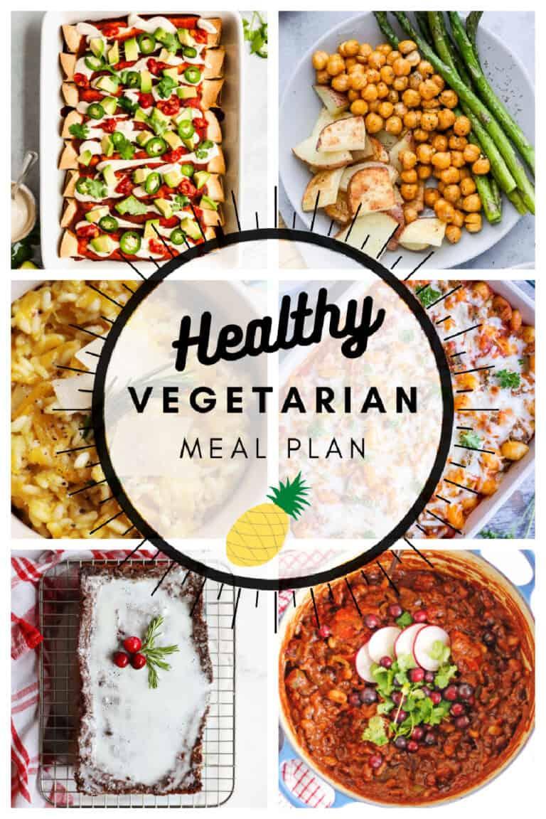Healthy vegetarian meal plan week 52 collage