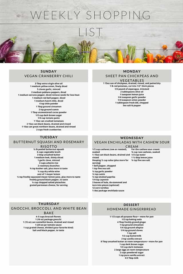 Healthy vegetarian meal plan week 52 shopping list