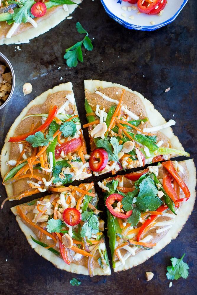Thai vegetable pizza