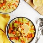Chickpea lemon orzo soup