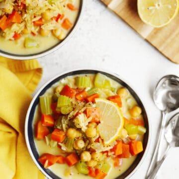 Chickpea lemon orzo soup