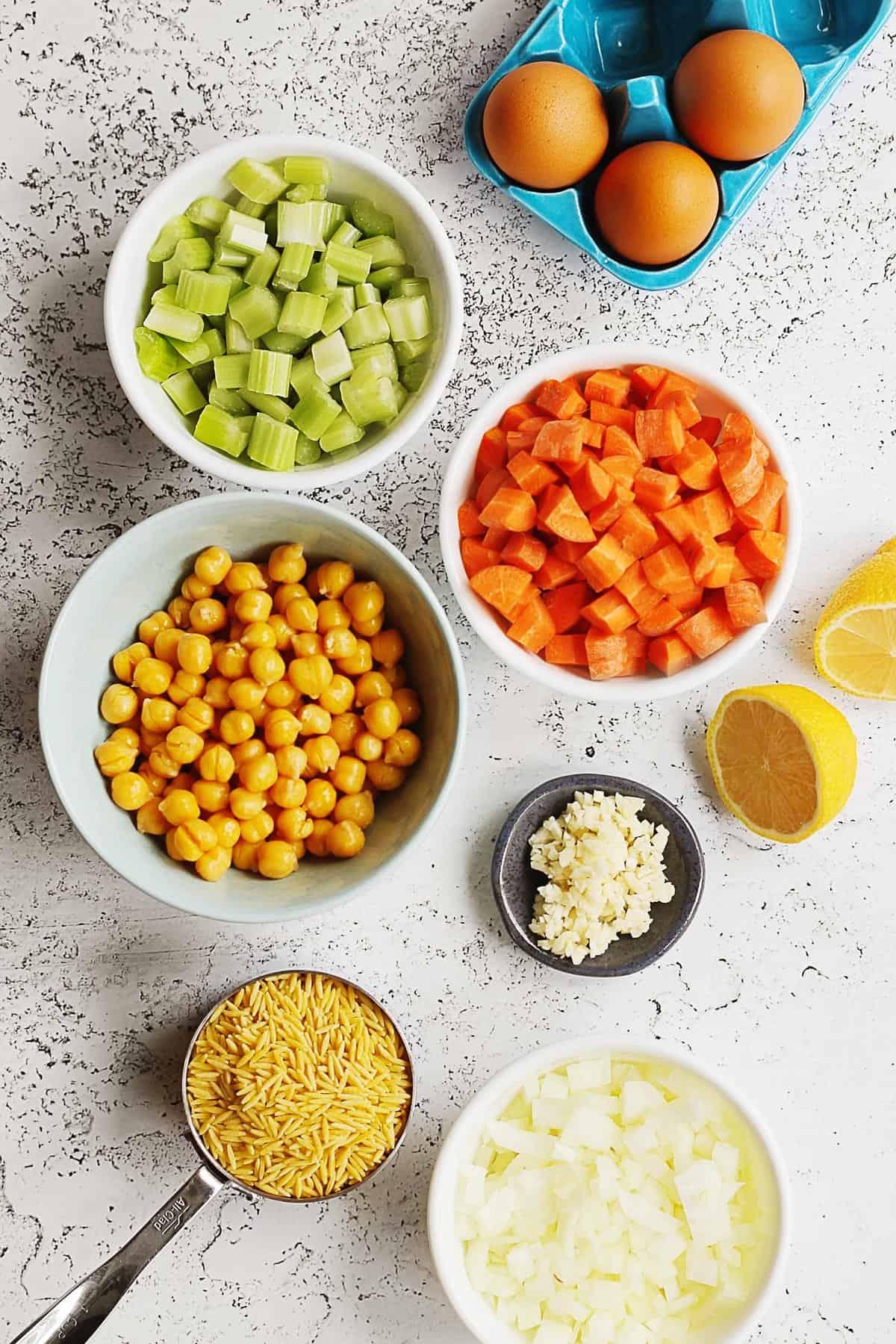 Vegetarian Avgolemono ingredients