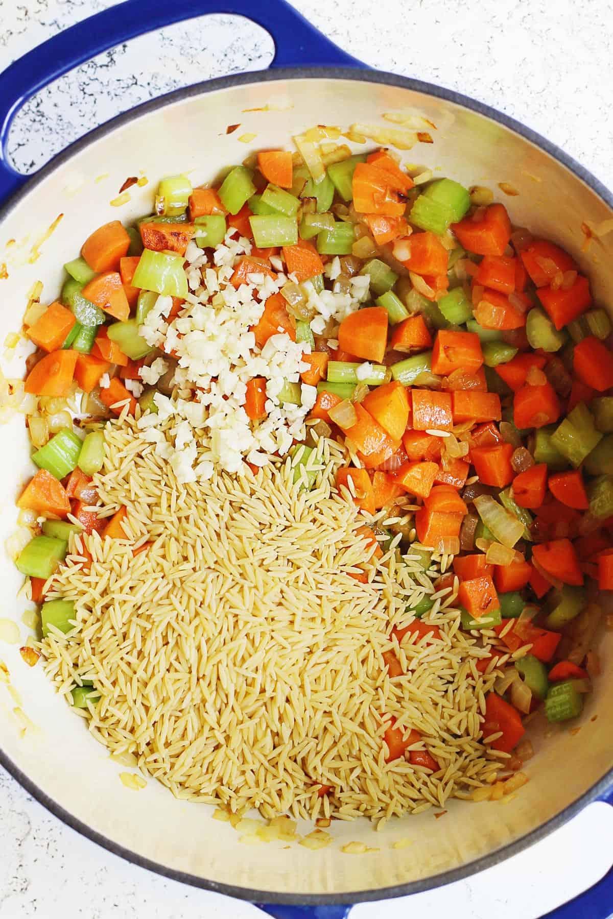 Vegetarian orzo soup process