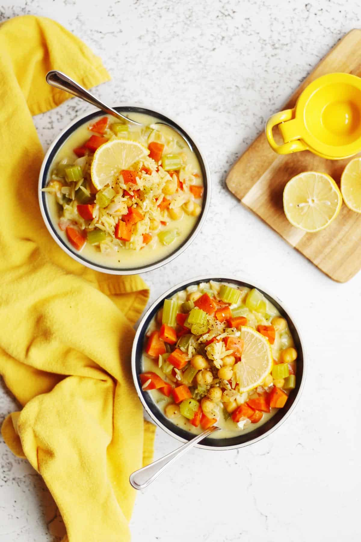 Two bowls of lemon chickpea soup