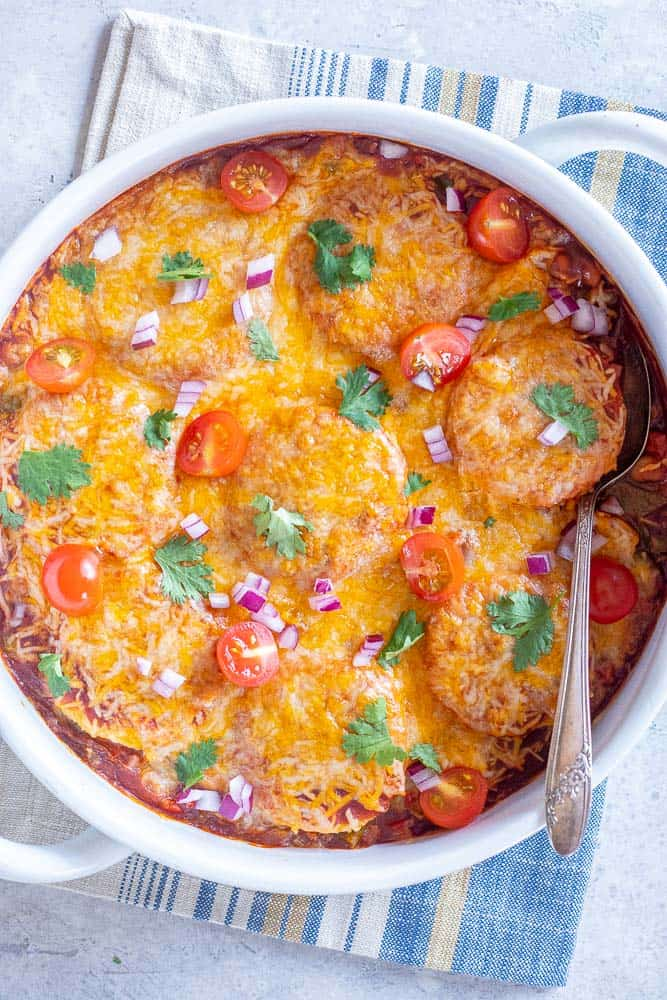 Polenta enchilada bake