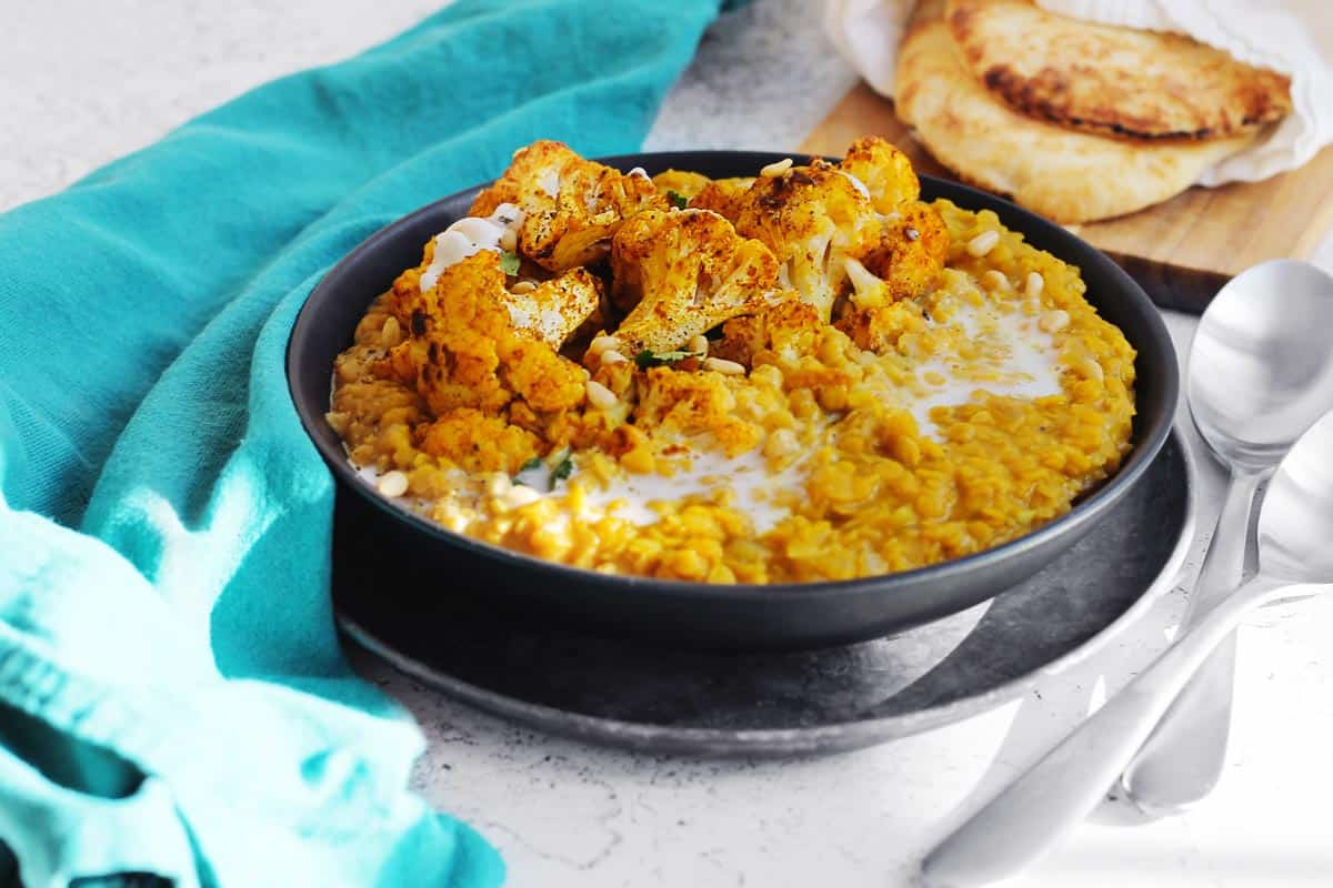 Red lentil dal and cauliflower