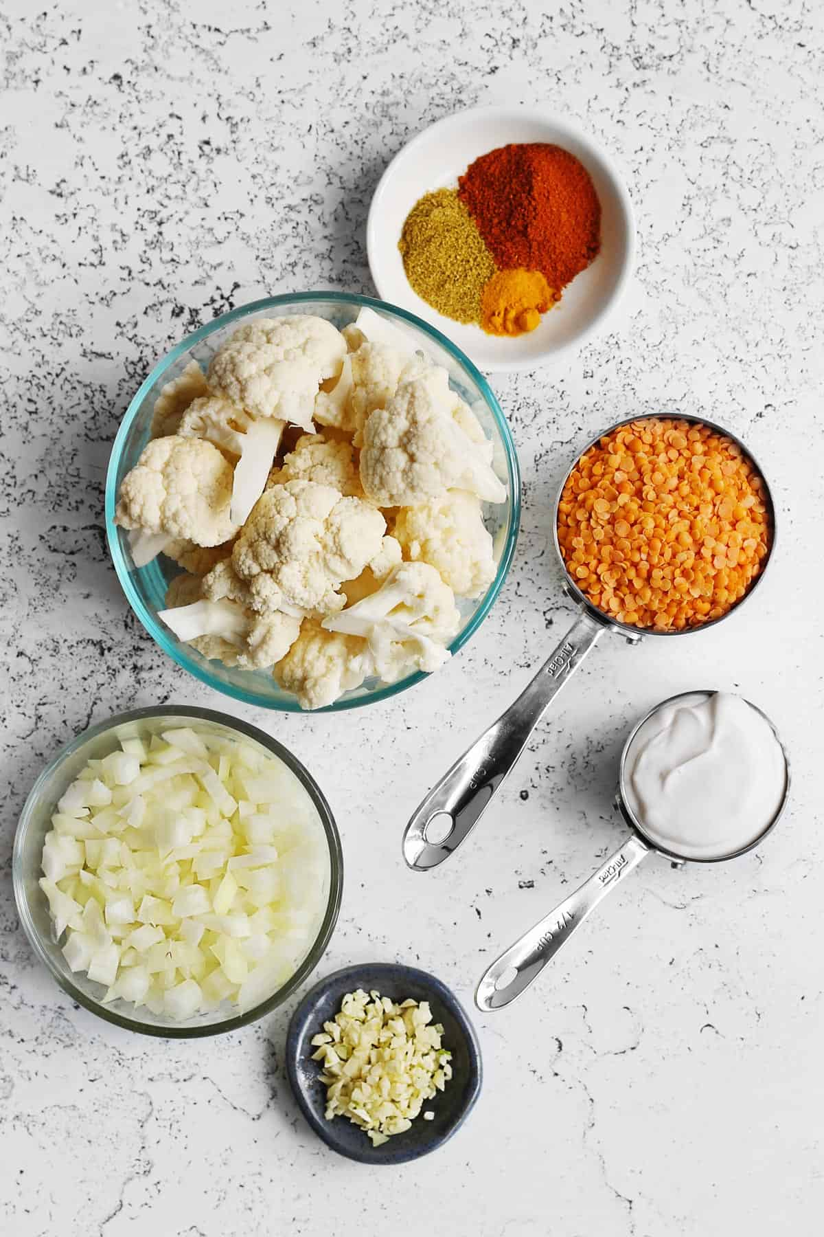 Curry cauliflower and lentils ingredients