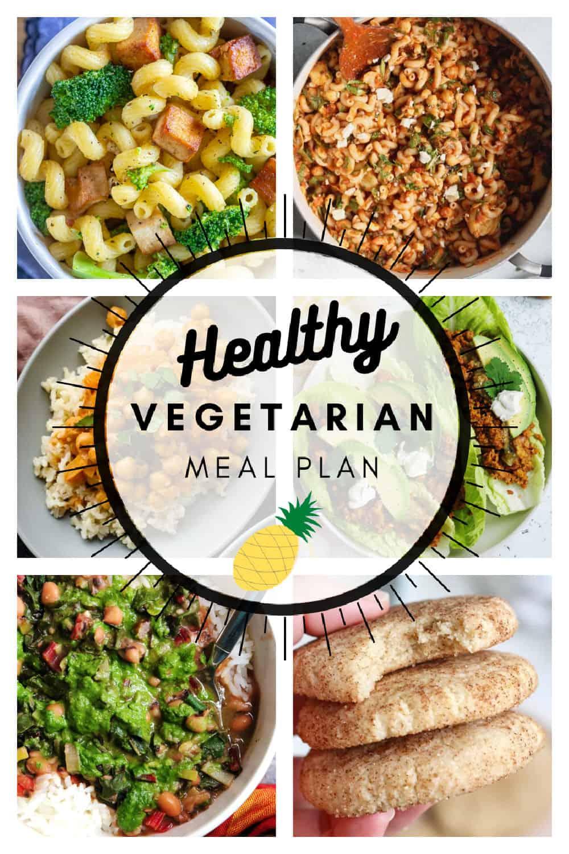 Healthy vegetarian meal plan week 8/52 collage