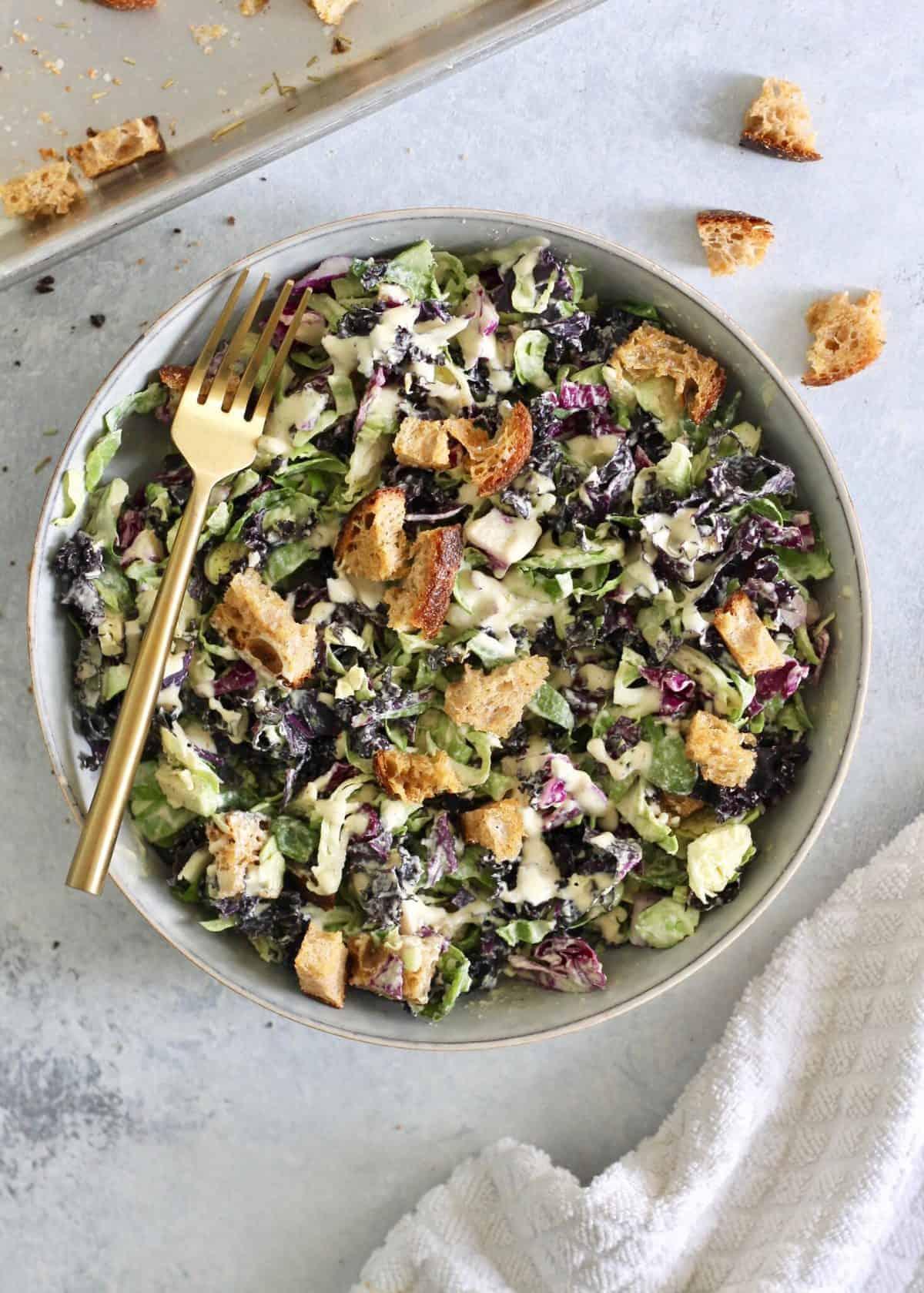 Kale brussel sprout caesar salad