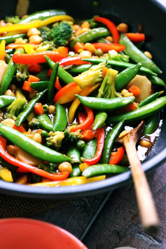Chickpea and vegetable stir fry