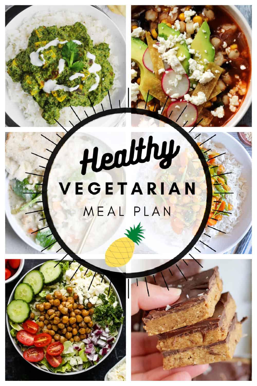 Healthy vegetarian meal plan week 13/52 collage