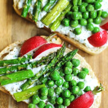 Spring veggie toast with goat cheese
