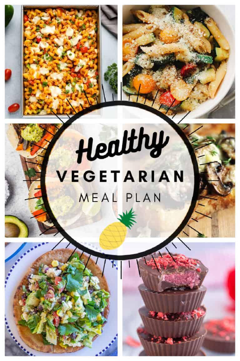 Healthy vegetarian meal plan week 14 collage