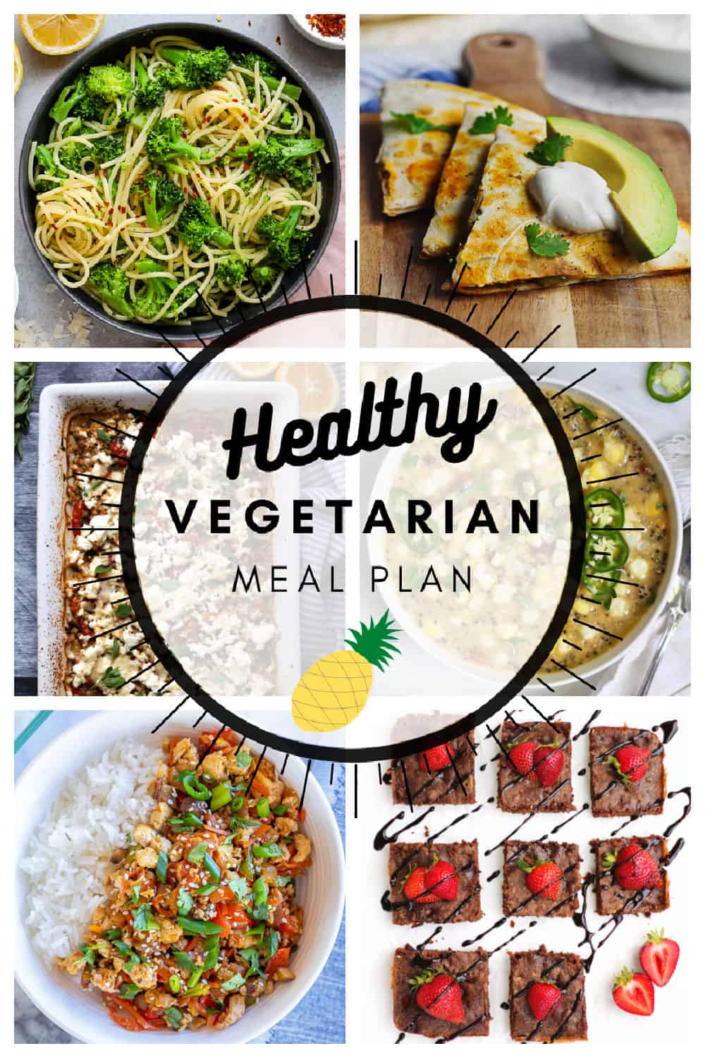 Healthy vegetarian meal plan week 15/52 collage with text
