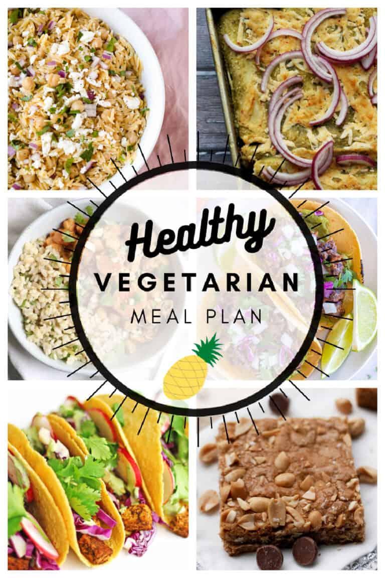 Healthy vegetarian meal plan week 17 collage
