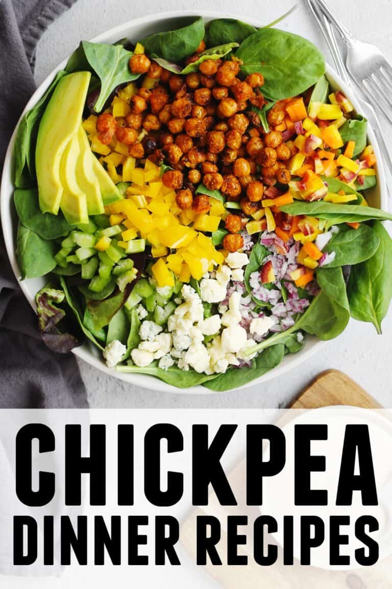 Chickpea dinner recipes graphic with chickpea salad