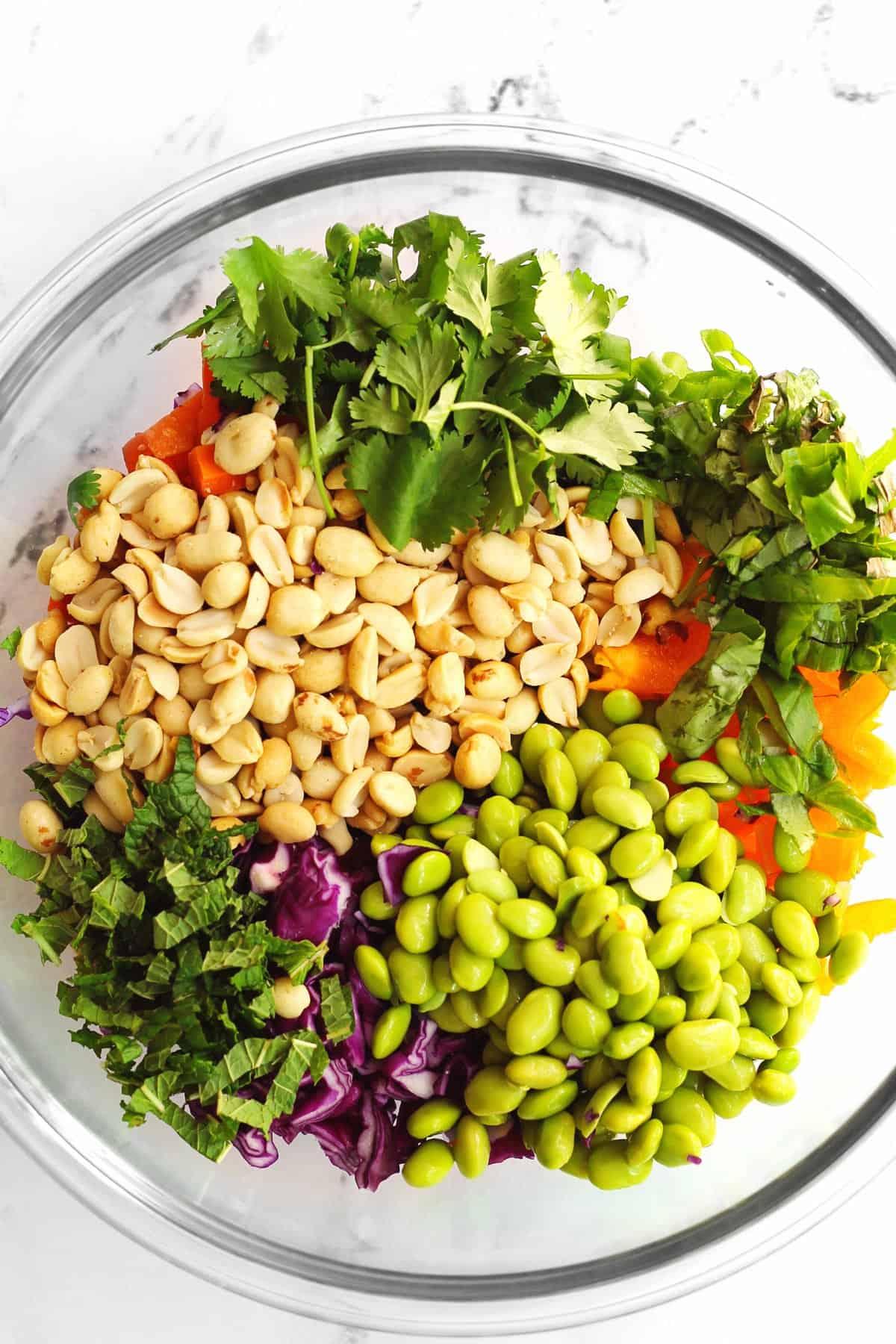 Thai peanut salad in a glass bowl
