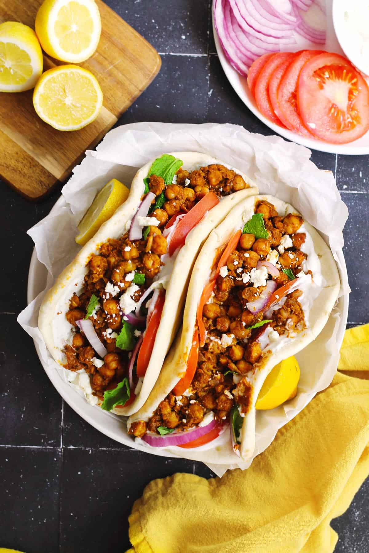 Chickpea gyros in pita