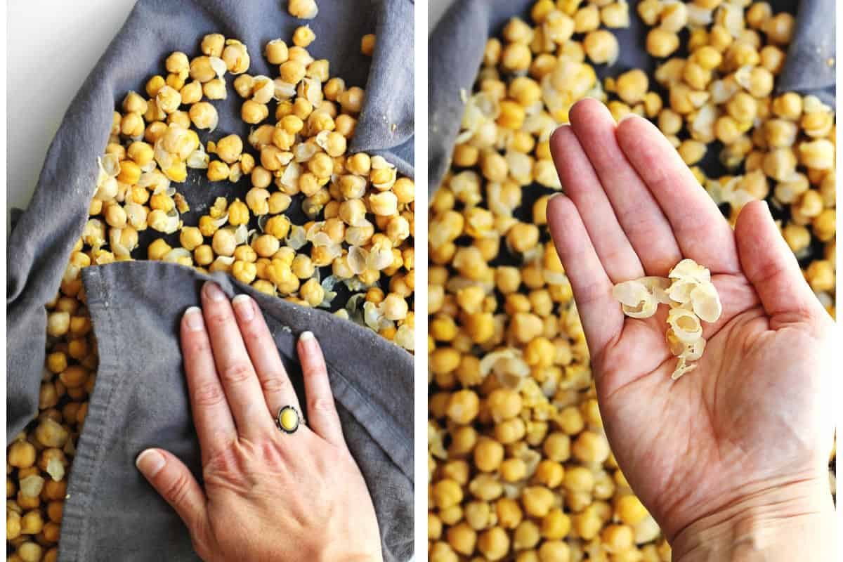 Taking the skin off of chickpeas